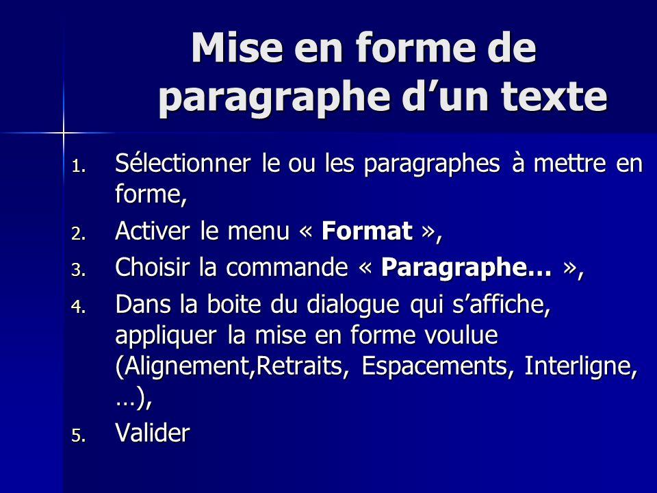 Mise en forme de paragraphe dun texte Mise en forme de paragraphe dun texte 1. Sélectionner le ou les paragraphes à mettre en forme, 2. Activer le men