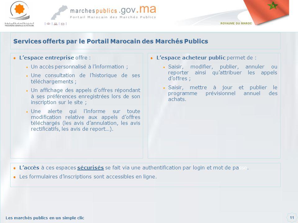 Les marchés publics en un simple clic 11 Services offerts par le Portail Marocain des Marchés Publics Lespace entreprise offre : Un accès personnalisé