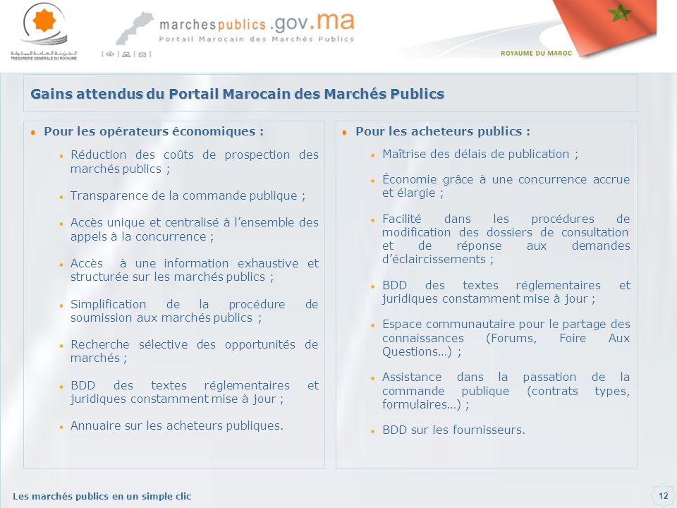 Les marchés publics en un simple clic 12 Gains attendus du Portail Marocain des Marchés Publics Pour les opérateurs économiques : Réduction des coûts de prospection des marchés publics ; Transparence de la commande publique ; Accès unique et centralisé à lensemble des appels à la concurrence ; Accès à une information exhaustive et structurée sur les marchés publics ; Simplification de la procédure de soumission aux marchés publics ; Recherche sélective des opportunités de marchés ; BDD des textes réglementaires et juridiques constamment mise à jour ; Annuaire sur les acheteurs publiques.