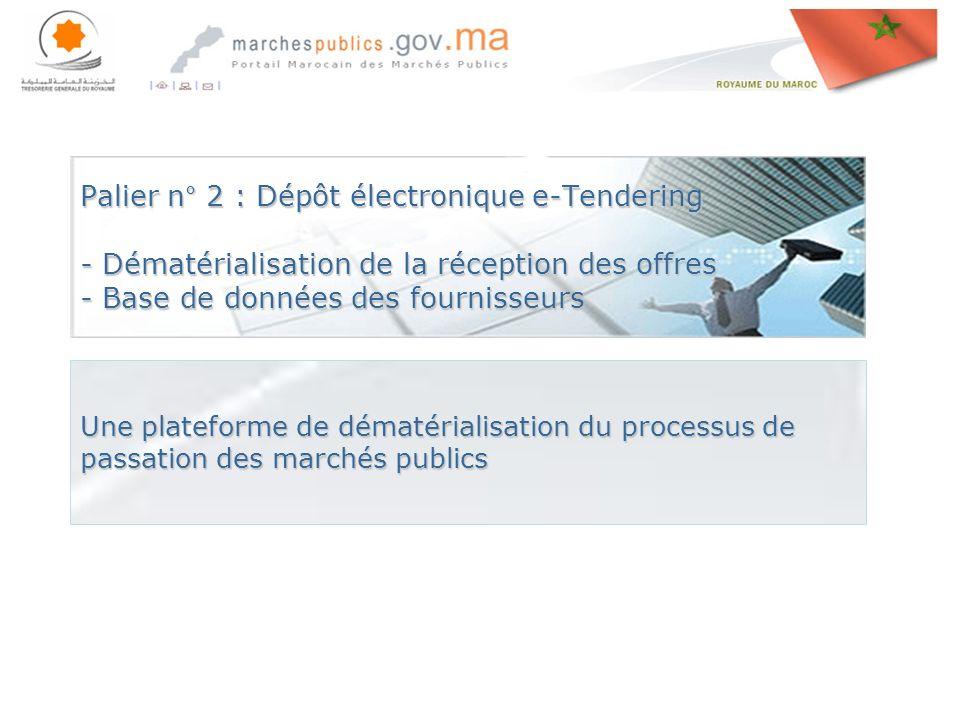 Rabat le, 27 avril 201427 avril 201427 avril 2014 Palier n° 2 : Dépôt électronique e-Tendering - Dématérialisation de la réception des offres - Base de données des fournisseurs Une plateforme de dématérialisation du processus de passation des marchés publics