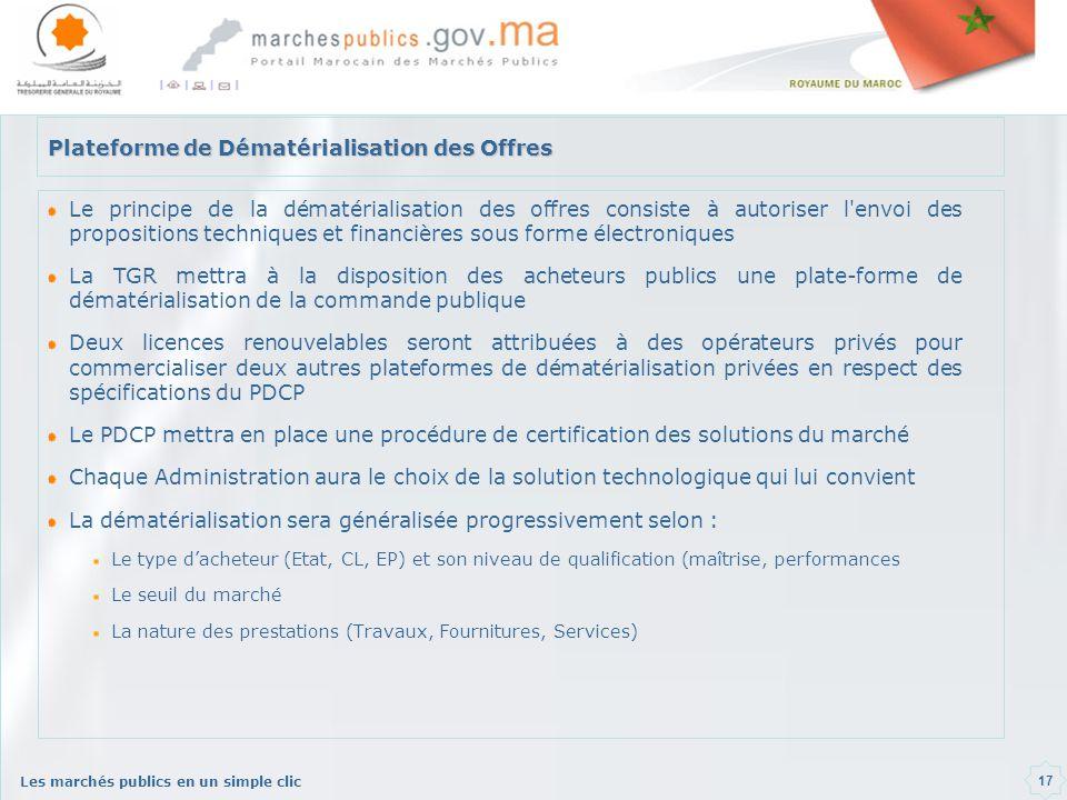 Les marchés publics en un simple clic 17 Plateforme de Dématérialisation des Offres Le principe de la dématérialisation des offres consiste à autorise