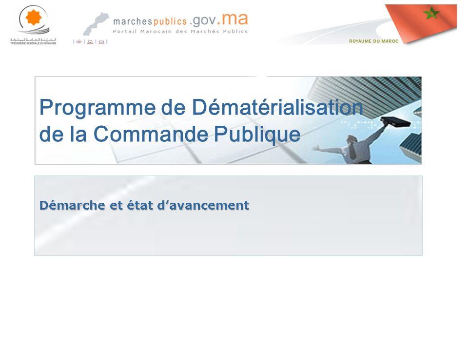 Rabat le, 27 avril 201427 avril 201427 avril 2014 Programme de Dématérialisation de la Commande Publique Démarche et état davancement