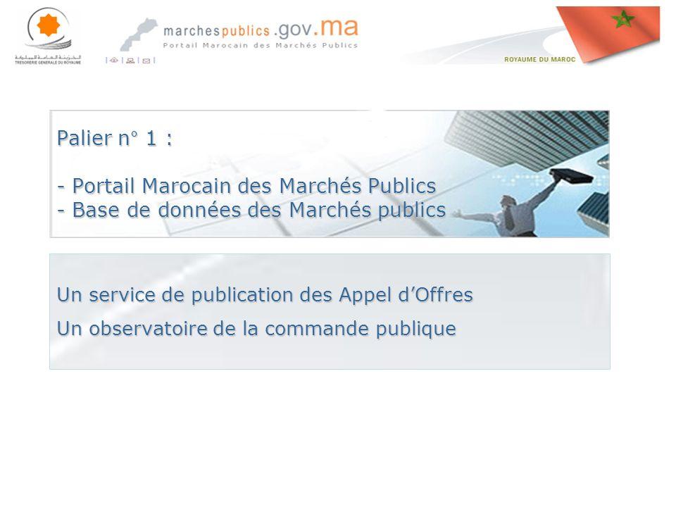 Rabat le, 27 avril 201427 avril 201427 avril 2014 Palier n° 1 : - Portail Marocain des Marchés Publics - Base de données des Marchés publics Un service de publication des Appel dOffres Un observatoire de la commande publique