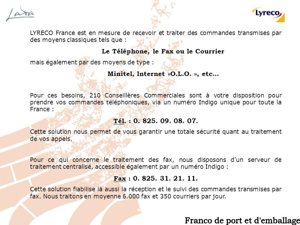 LYRECO France est en mesure de recevoir et traiter des commandes transmises par des moyens classiques tels que : Le Téléphone, le Fax ou le Courrier m
