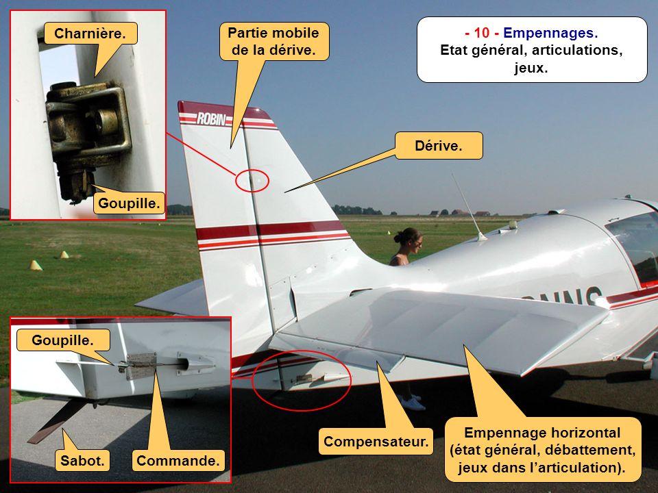 E.S.- Août 2001 M - 12/n - 10 - Empennages. Etat général, articulations, jeux.