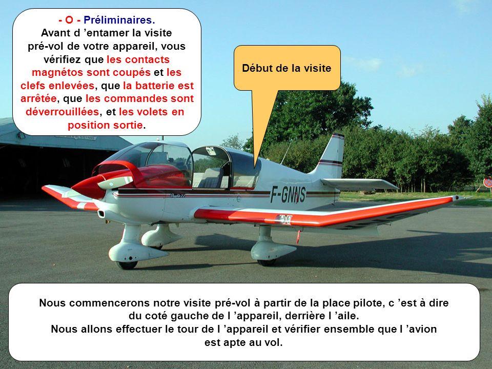 E.S. - Août 2001 M - 2/n Nous commencerons notre visite pré-vol à partir de la place pilote, c est à dire du coté gauche de l appareil, derrière l ail