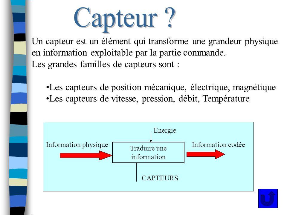 Capteur def Un capteur est un élément qui transforme une grandeur physique en information exploitable par la partie commande. Les grandes familles de