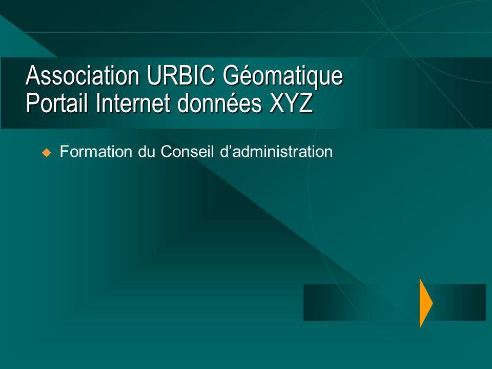 Association URBIC Géomatique Portail Internet données XYZ Formation du Conseil dadministration