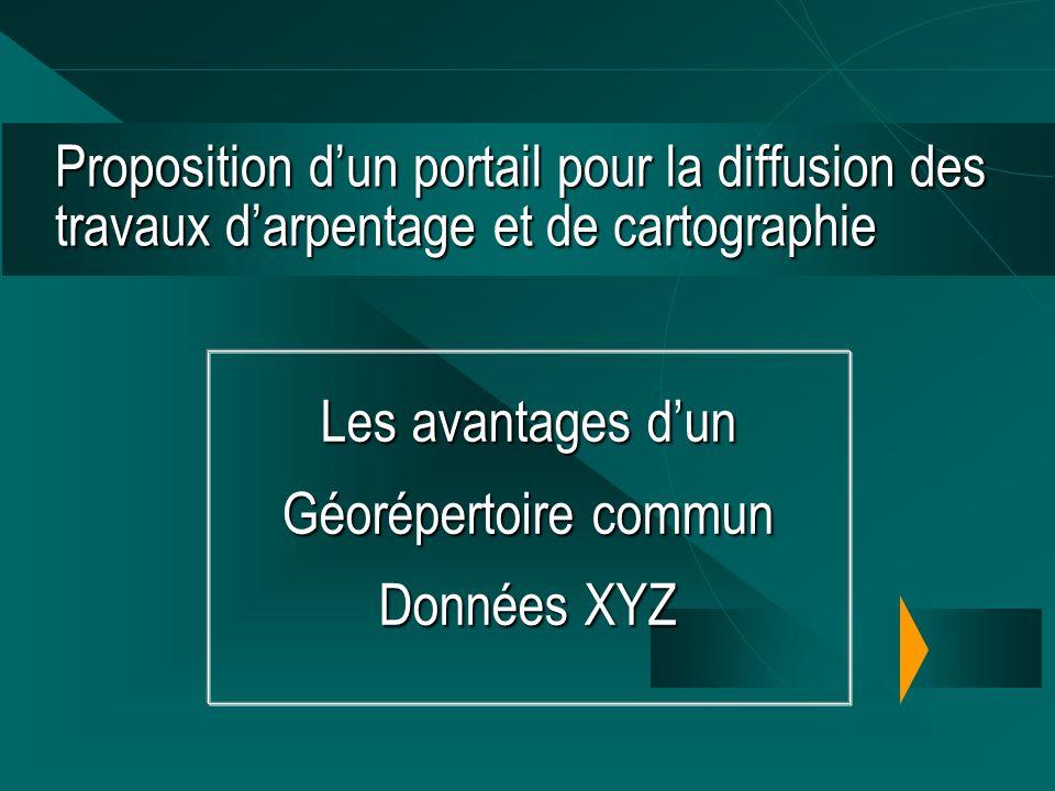 Proposition dun portail pour la diffusion des travaux darpentage et de cartographie Les avantages dun Géorépertoire commun Données XYZ