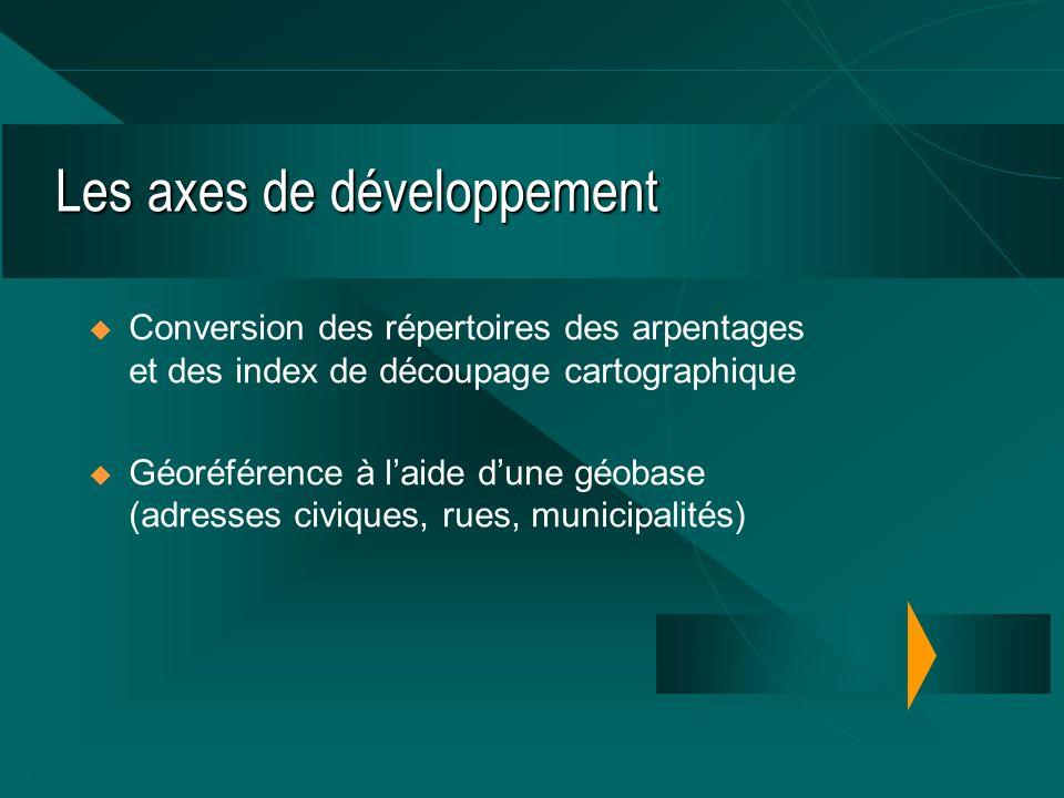 Les axes de développement Conversion des répertoires des arpentages et des index de découpage cartographique Géoréférence à laide dune géobase (adresses civiques, rues, municipalités)
