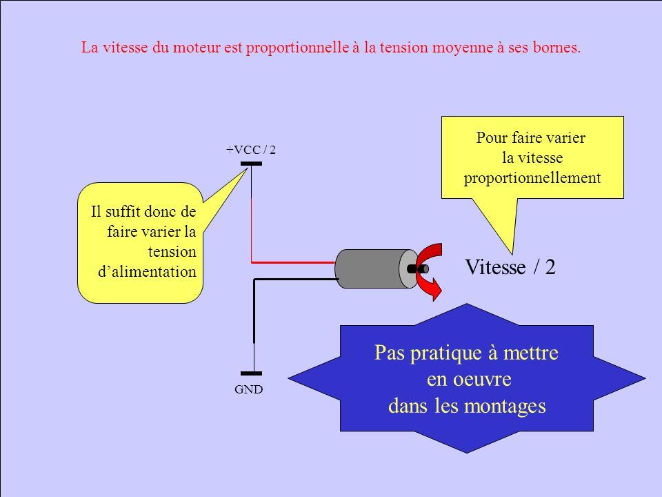 +VCC GND Lorsque la tension Aux bornes du moteur Est négative et de -VCC: Le moteur tourne dans le sens 2 À la vitesse maximale Commande d un moteur p