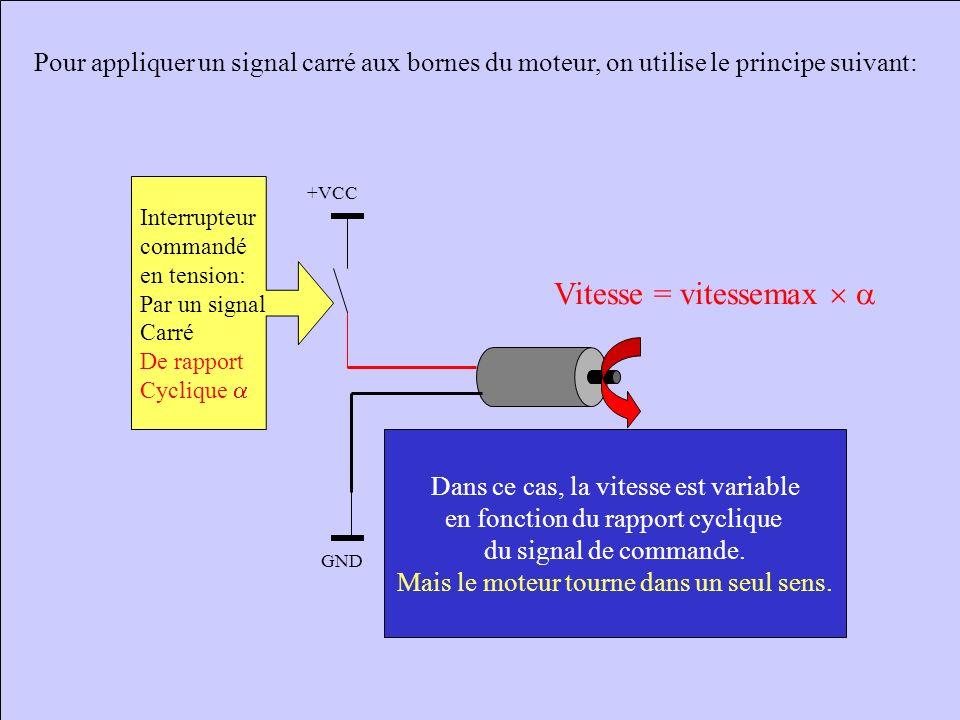 Autre méthode pour faire varier une tension moyenne: On applique un signal carré aux bornes du moteur. La tension moyenne de UM est : <UM> = (TH Vcc +