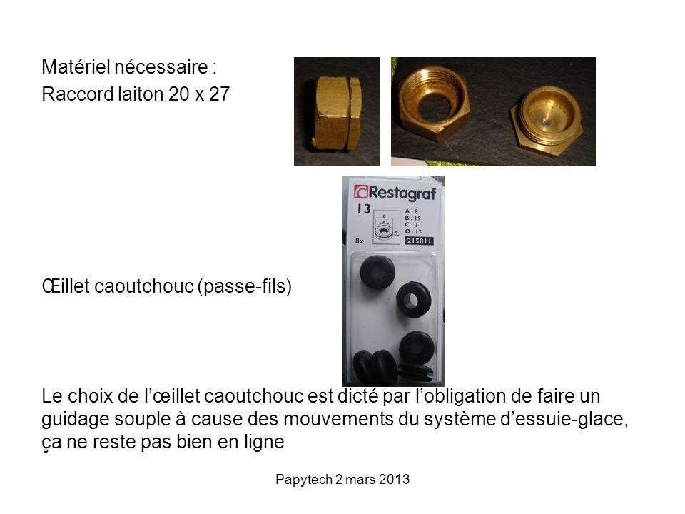 Papytech 2 mars 2013 Matériel nécessaire : Raccord laiton 20 x 27 Œillet caoutchouc (passe-fils) Le choix de lœillet caoutchouc est dicté par lobligat