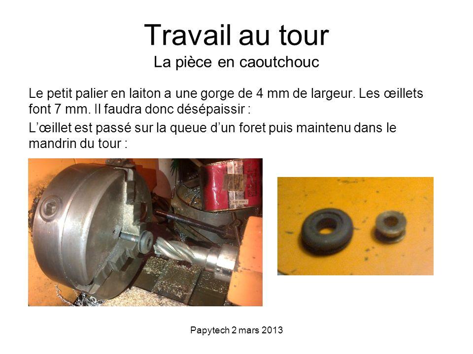 Papytech 2 mars 2013 Assemblage 1.Assemblage du palier et de lœillet 2.Montage de lensemble œillet/palier dans la coupelle en laiton, selon la technique du pare-brise, avec de la ficelle :