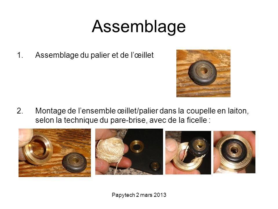 Papytech 2 mars 2013 Assemblage 1.Assemblage du palier et de lœillet 2.Montage de lensemble œillet/palier dans la coupelle en laiton, selon la techniq