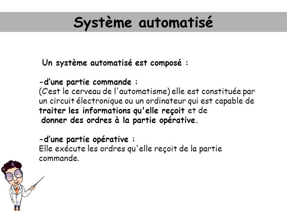 Un système automatisé est composé : -dune partie commande : (Cest le cerveau de l'automatisme) elle est constituée par un circuit électronique ou un o