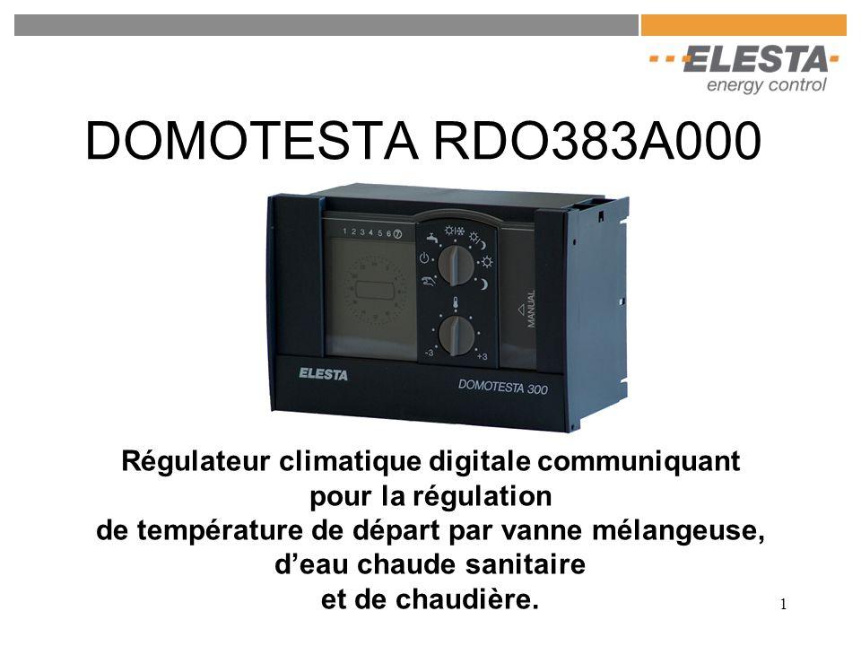 1 DOMOTESTA RDO383A000 Régulateur climatique digitale communiquant pour la régulation de température de départ par vanne mélangeuse, deau chaude sanit