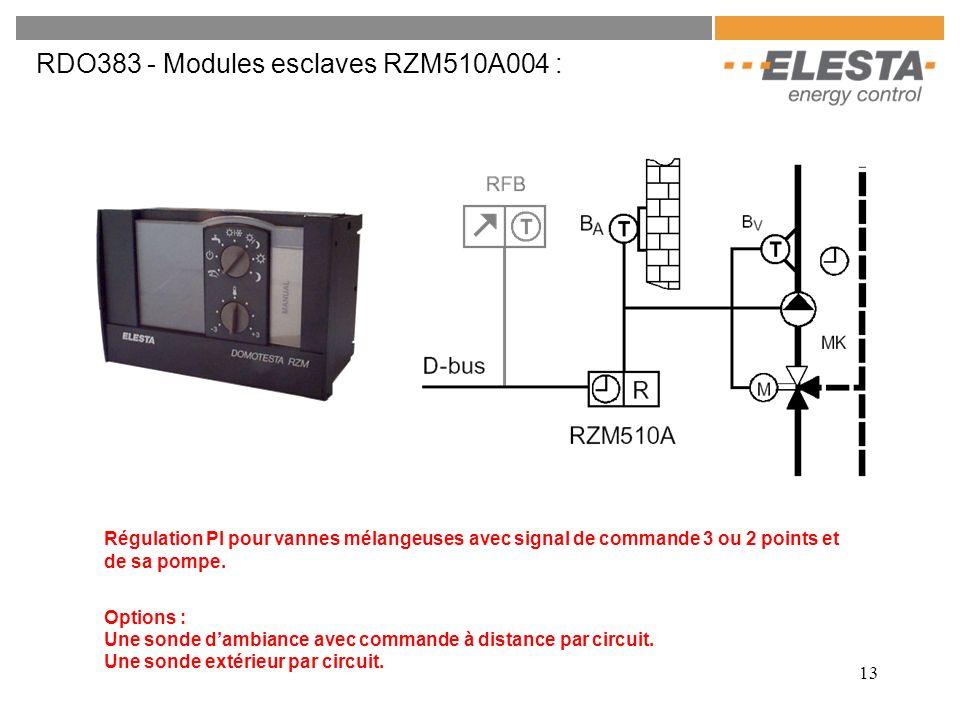 13 RDO383 - Modules esclaves RZM510A004 : Régulation PI pour vannes mélangeuses avec signal de commande 3 ou 2 points et de sa pompe. Options : Une so
