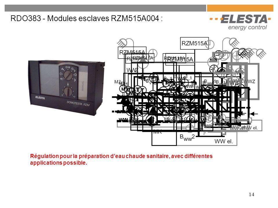 14 RDO383 - Modules esclaves RZM515A004 : Régulation pour la préparation deau chaude sanitaire, avec différentes applications possible.