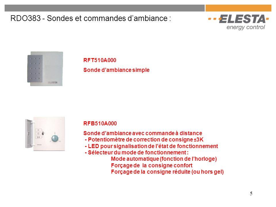 6 RDO383 - Sondes et commandes dambiance : RFB520A000 Sonde dambiance avec commande à distance automatique - Potentiomètre de correction de consigne ± 3K - LED pour signalisation de létat de fonctionnement - Sélection du mode de fonctionnement par bouton poussoir : Mode automatique (fonction de lhorloge) Forçage de la consigne confort pendant 3h Forçage de la consigne réduite (ou antigel) pendant 6h Forçage de la consigne réduite (ou antigel) en permanence RFB540A000 Sonde dambiance avec commande à distance et écran LCD - Potentiomètre de correction de consigne ± 3K - Accès à toutes les fonctions du régulateur (sauf paramétrage)