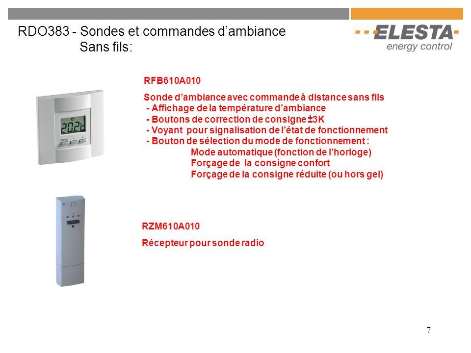 7 RDO383 - Sondes et commandes dambiance Sans fils: RFB610A010 Sonde dambiance avec commande à distance sans fils - Affichage de la température dambia