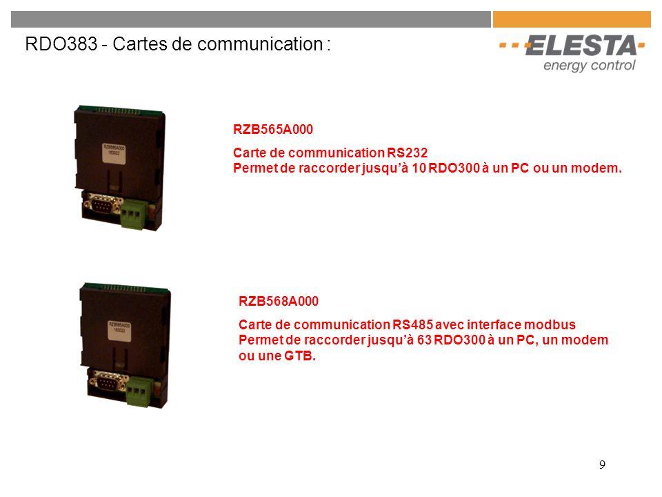 10 RDO383 - Caractéristiques : Régulation configurable : - régulation de deux moteurs de vanne à commande 3 points - régulation dune pompe pour un départ direct - régulation dune pompe de charge ECS en fonction dune ou deux sonde ou dun thermostat - régulation de brûleur à 1 ou 2 allures ou modulante ou modulante Possibilité dajouter une commande à distance et/ou une sonde dambiance Protection antigel automatique Arrêt automatique du chauffage en mode été Indication de lheure, des température et de létat de linstation par un écran LCD Possibilité de réguler en fonction de la température dambiance sans la sonde extérieur Régulateur digitale communiquant Quatre entrées à contact sec extérieur configurable Signalisation des défauts par affichage dune erreur Optimisation des périodes de chauffage et des charge ECS Bibliothèque dapplications prête à charger Possibilité dajouter les modules supplémentaires pour augmenter le nombre de circuits