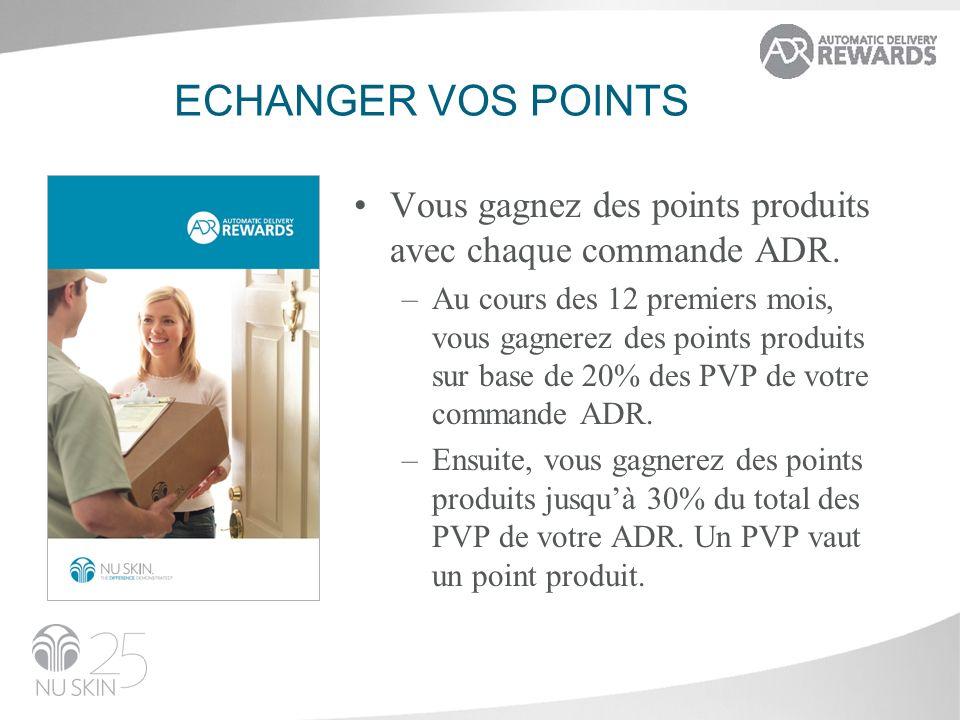 ECHANGER VOS POINTS Vous gagnez des points produits avec chaque commande ADR. –Au cours des 12 premiers mois, vous gagnerez des points produits sur ba