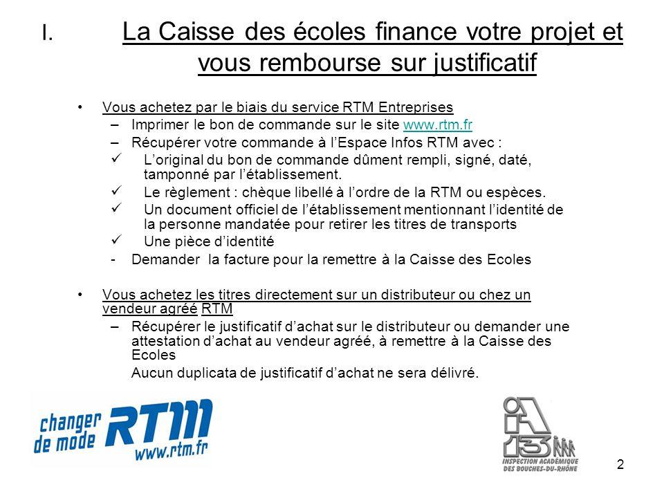 2 I. La Caisse des écoles finance votre projet et vous rembourse sur justificatif Vous achetez par le biais du service RTM Entreprises –Imprimer le bo
