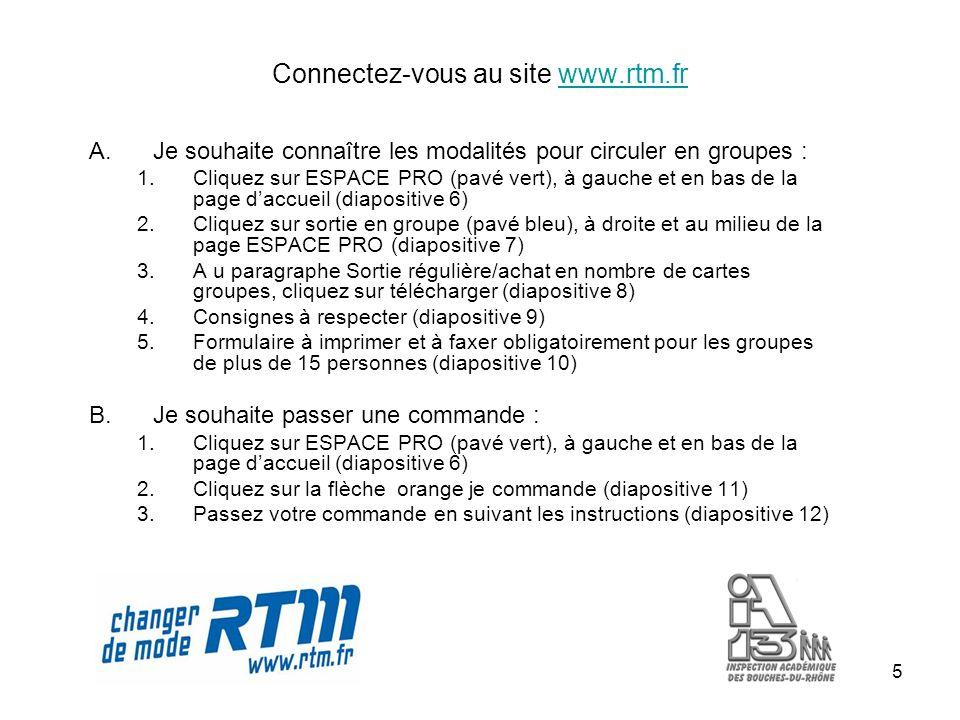 5 Connectez-vous au site www.rtm.frwww.rtm.fr A.Je souhaite connaître les modalités pour circuler en groupes : 1.Cliquez sur ESPACE PRO (pavé vert), à