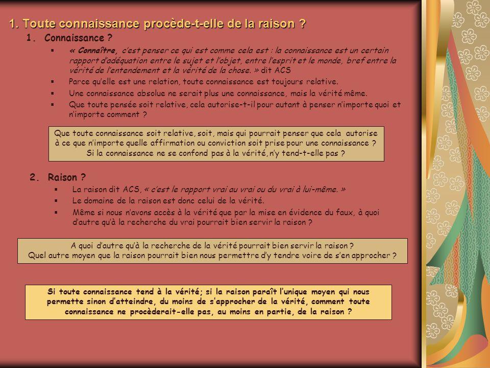 1. Toute connaissance procède-t-elle de la raison ? 2.Raison ? La raison dit ACS, « cest le rapport vrai au vrai ou du vrai à lui-même. » Le domaine d