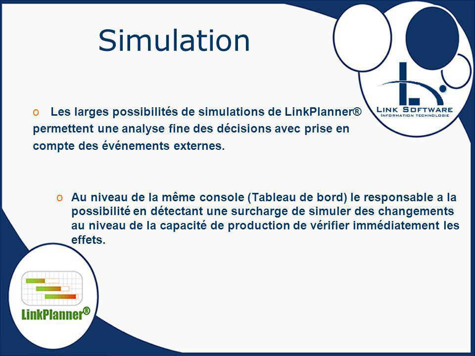 Simulation oLes larges possibilités de simulations de LinkPlanner® permettent une analyse fine des décisions avec prise en compte des événements exter