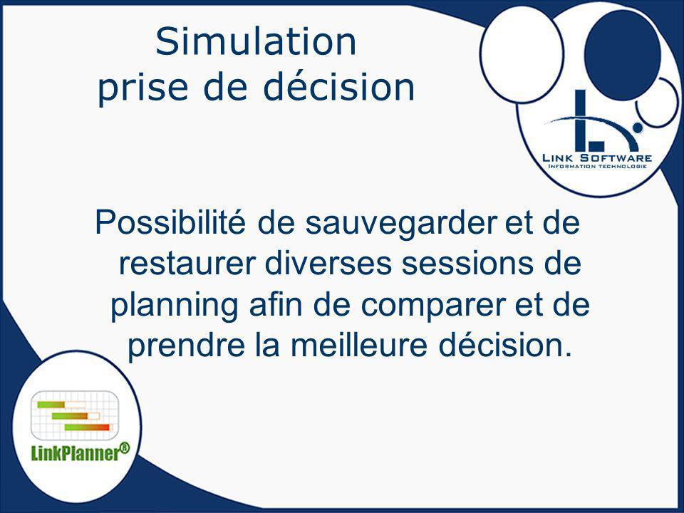 Simulation prise de décision Possibilité de sauvegarder et de restaurer diverses sessions de planning afin de comparer et de prendre la meilleure déci