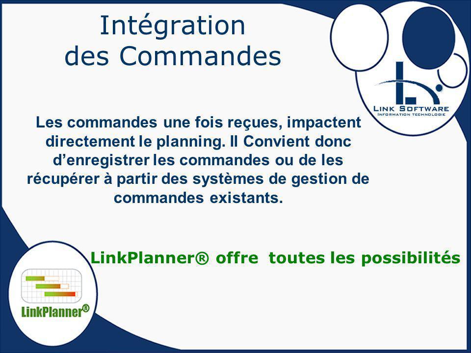 Intégration des Commandes Les commandes une fois reçues, impactent directement le planning. Il Convient donc denregistrer les commandes ou de les récu