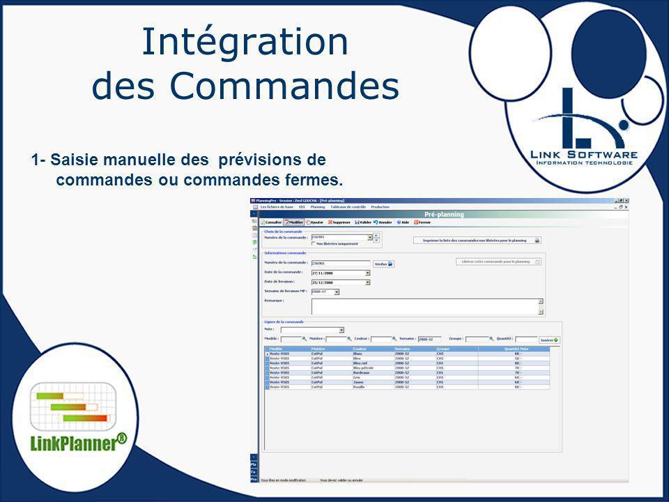 Intégration des Commandes 1- Saisie manuelle des prévisions de commandes ou commandes fermes.