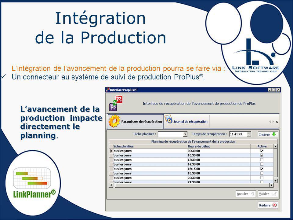 Intégration de la Production Lintégration de lavancement de la production pourra se faire via : Un connecteur au système de suivi de production ProPlu