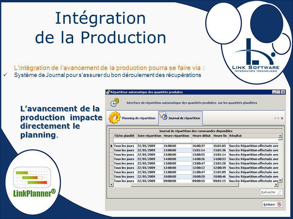 Intégration de la Production Lintégration de lavancement de la production pourra se faire via : Système de Journal pour s'assurer du bon déroulement d