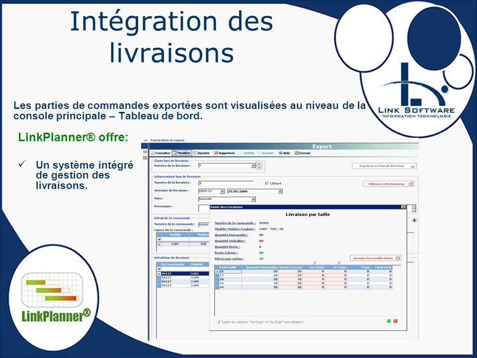 Intégration des livraisons Les parties de commandes exportées sont visualisées au niveau de la console principale – Tableau de bord. LinkPlanner® offr