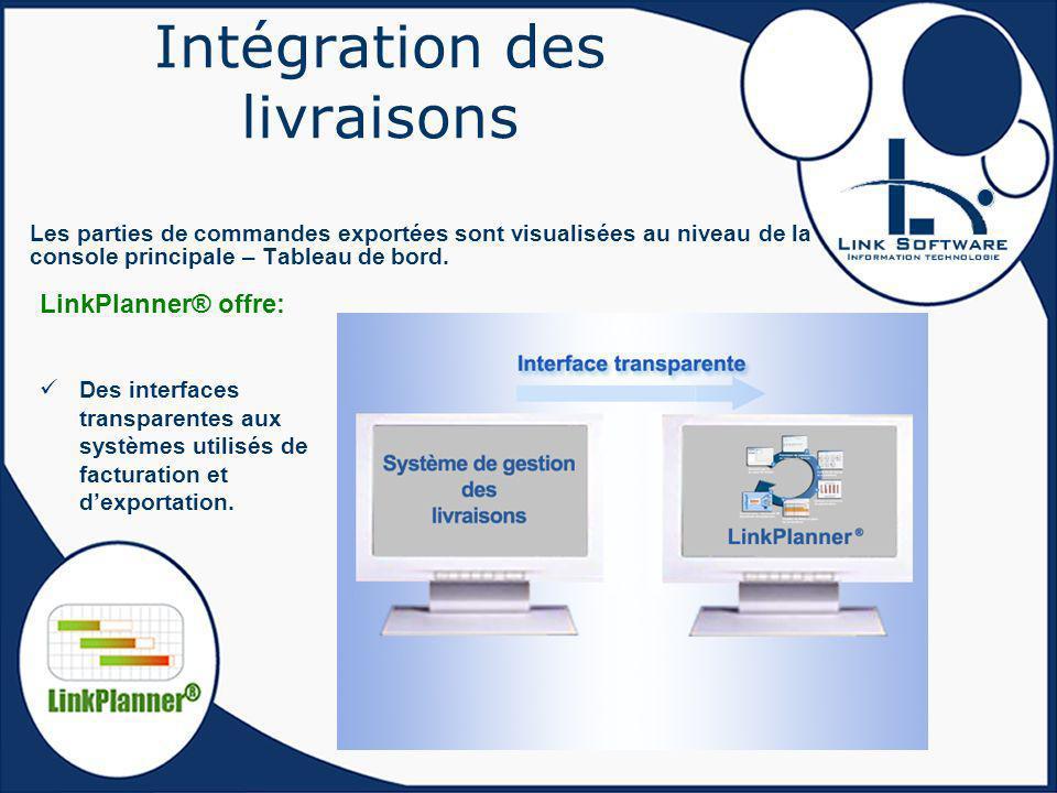 Intégration des livraisons Les parties de commandes exportées sont visualisées au niveau de la console principale – Tableau de bord. Des interfaces tr