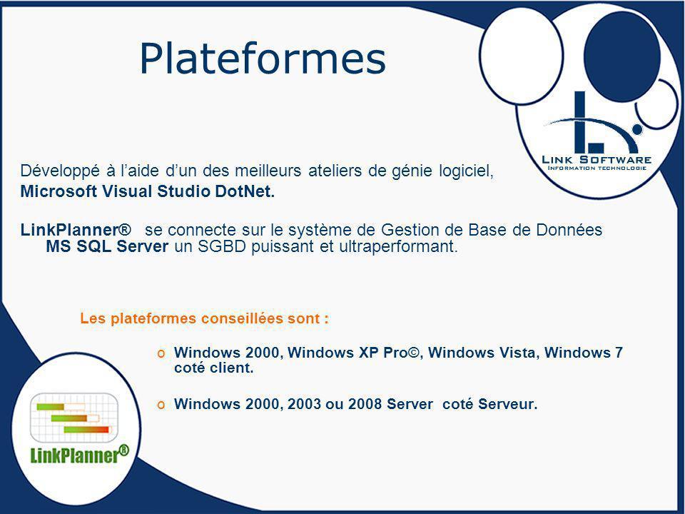 Plateformes Développé à laide dun des meilleurs ateliers de génie logiciel, Microsoft Visual Studio DotNet. LinkPlanner® se connecte sur le système de