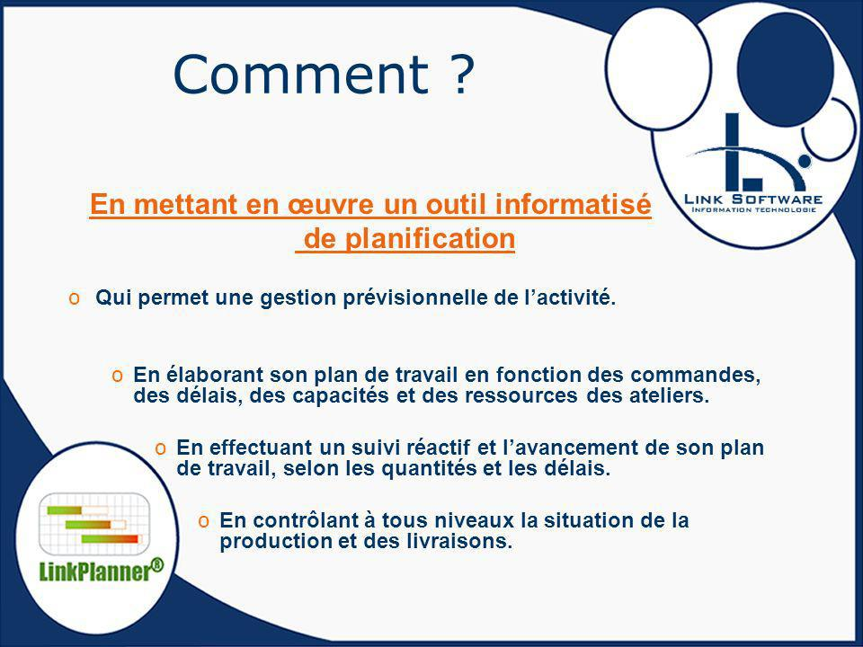 Comment ? En mettant en œuvre un outil informatisé de planification oQui permet une gestion prévisionnelle de lactivité. oEn élaborant son plan de tra