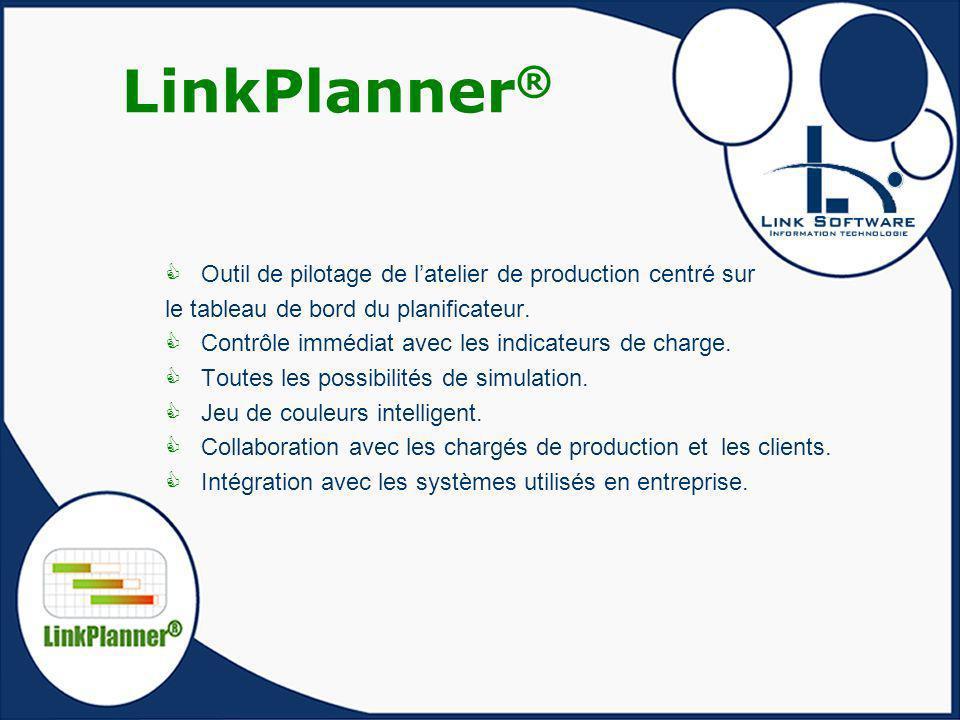 LinkPlanner ® Outil de pilotage de latelier de production centré sur le tableau de bord du planificateur. Contrôle immédiat avec les indicateurs de ch