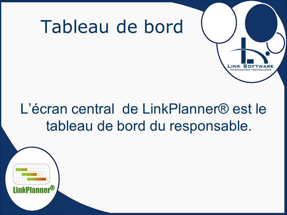 Tableau de bord Lécran central de LinkPlanner® est le tableau de bord du responsable.