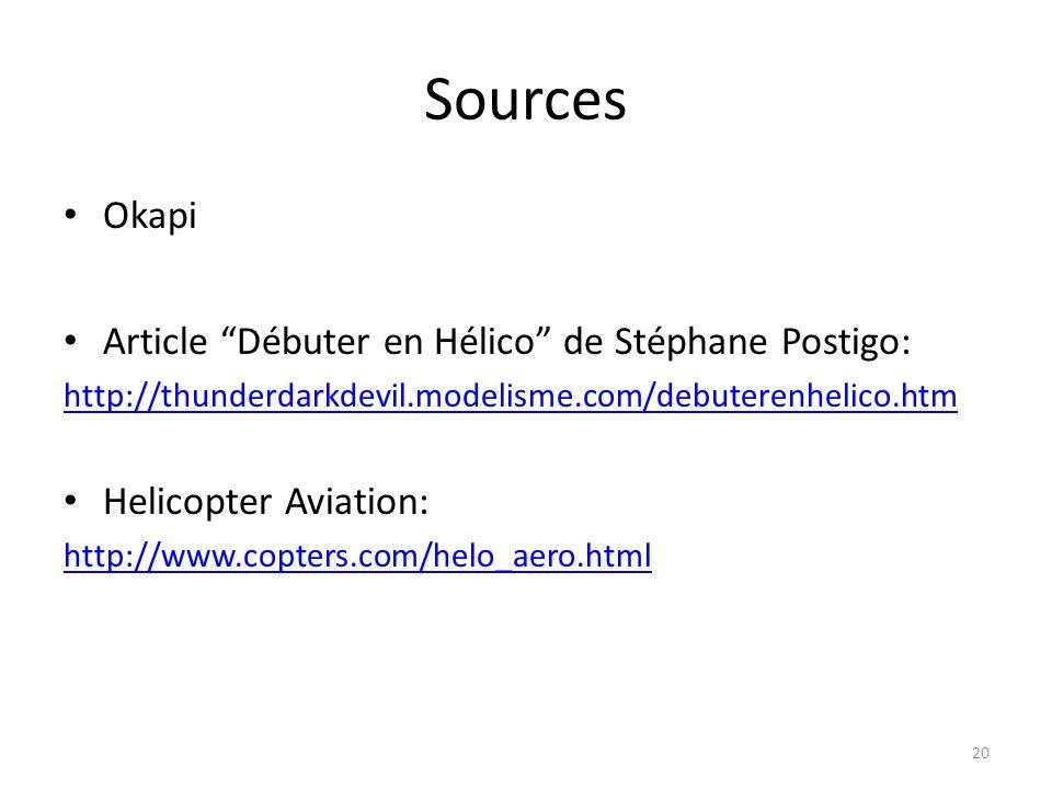 Sources Okapi Article Débuter en Hélico de Stéphane Postigo: http://thunderdarkdevil.modelisme.com/debuterenhelico.htm Helicopter Aviation: http://www