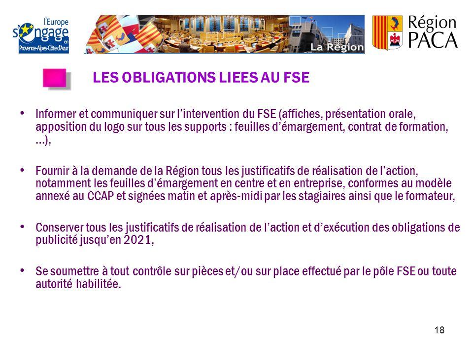 17 LE FONDS SOCIAL EUROPEEN (FSE) Le Fonds Social Européen est le principal levier financier de lUnion européenne pour la promotion de lemploi. La Rég