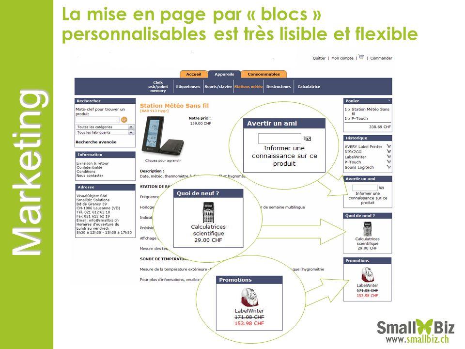 Marketing La mise en page par « blocs » personnalisables est très lisible et flexible