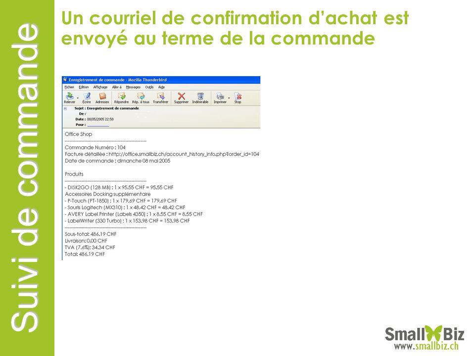 Suivi de commande M. Degrange Rue basse 5 1007 Lausanne Un courriel de confirmation dachat est envoyé au terme de la commande