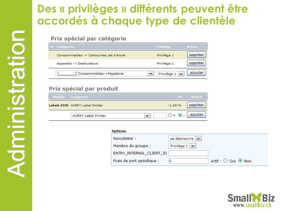 Administration Des « privilèges » différents peuvent être accordés à chaque type de clientèle