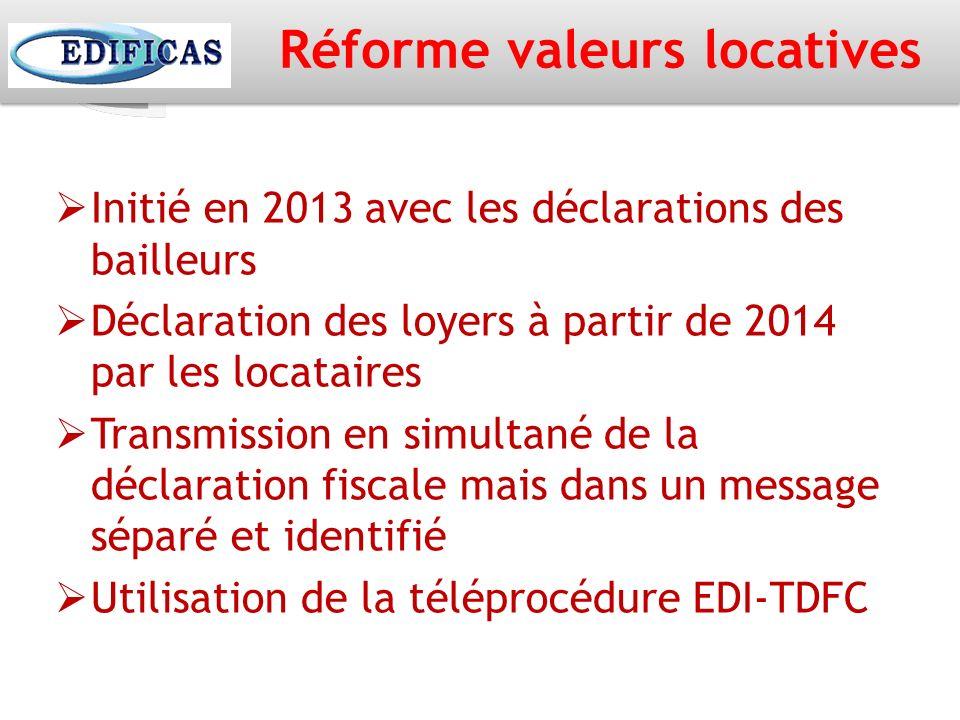 Réforme valeurs locatives Initié en 2013 avec les déclarations des bailleurs Déclaration des loyers à partir de 2014 par les locataires Transmission e