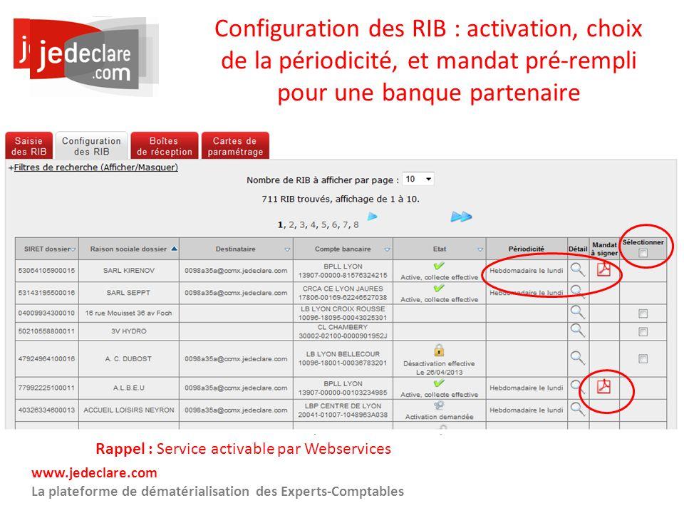 24 www.jedeclare.com La plateforme de dématérialisation des Experts-Comptables Configuration des RIB : activation, choix de la périodicité, et mandat
