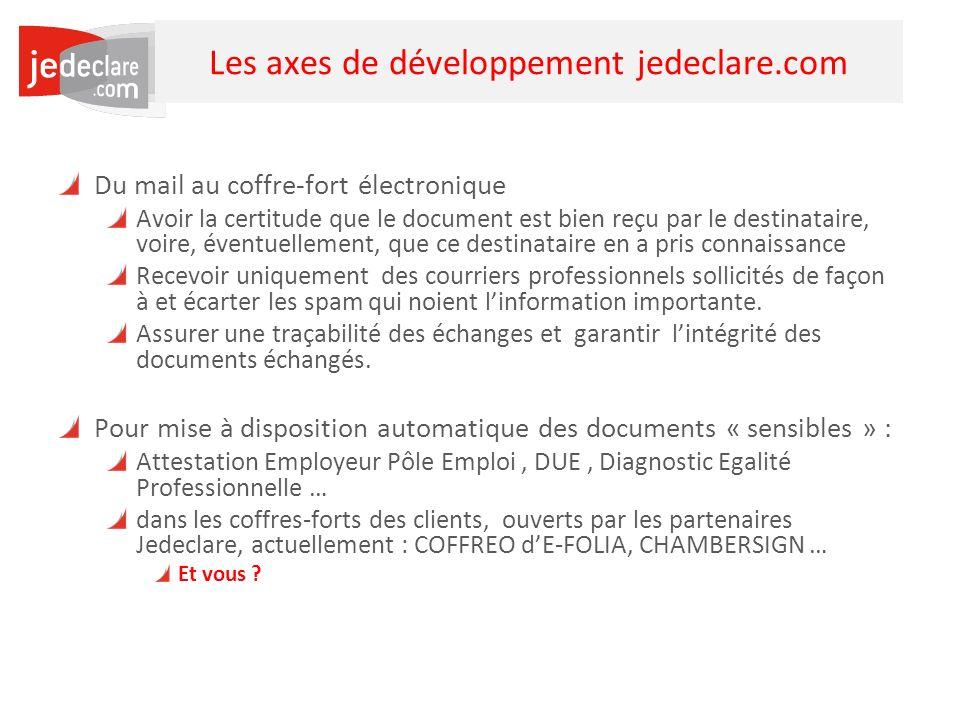 29 Les axes de développement jedeclare.com Du mail au coffre-fort électronique Avoir la certitude que le document est bien reçu par le destinataire, v